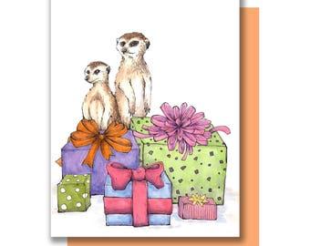 Party Meerkats Happy Birthday Celebration Card
