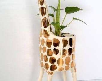 Gold Giraffe Planter / indoor planter / succulent planter