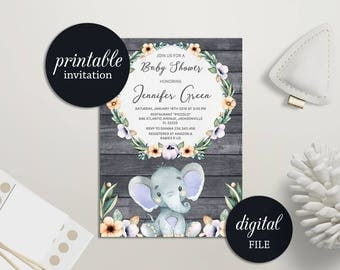 Elephant baby shower invitation Floral baby shower invitation printable Girl Baby shower Invitation Rustic Baby Shower Invitation Lilac