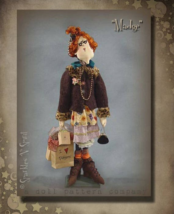 "Doll Kit: Madge - 30"" Pattern Collector Bag Lady Doll"