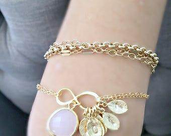 Rose Quartz bracelet Infinity Bracelet Rose Quartz Jewelry 14k gold filled hand stamped leafs monogram jewelry monogram bracelet letters