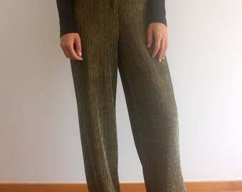 golden wide leg trousers