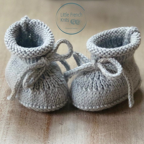 Baby Booties / Knitting Pattern Baby Instructions in French Instant Digital Download / 3 Sizes Newborn / 3 months / 6 months