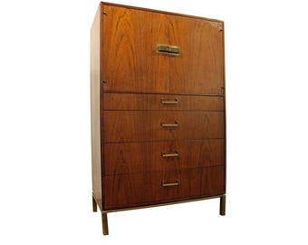 Mid-Century Danish Modern Milo Baughman Founders Walnut Gentleman/Tall Chest #14