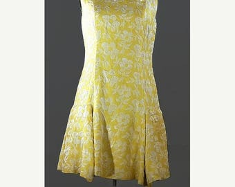SALE Vintage 1960 Scooter Yellow Brocade Dress. Saks Fifth Ave Scooter Dress