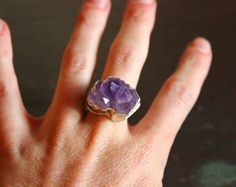Amethyst ring / Size 8 / raw crystal handmade jewelry / sterling silver statement ring / one of a kind