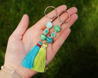 Summertime Tassle Keychain, Keyring, Keychains, Cute Keychains, Accessories
