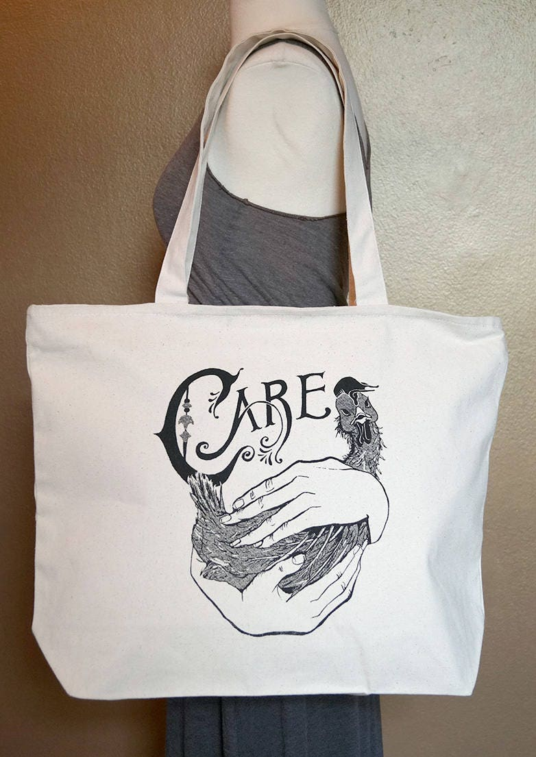 "Zippered Tote Bag ""Care"" Black Ink on Natural Cotton"