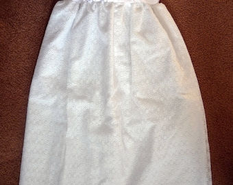 White,Infant, lace covered Blessing, Christening, Baptism dress.  It has a discontinued lace but other wise is in perfect condition.