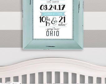 Birth Announcement, Birth Stats Printable, Hand Lettered Personalized Baby Gift, Nursery Decor, Typography, Digital Download, Printable