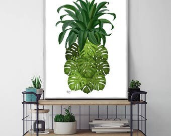 Tropical decor Monstera Leaf Pineapple print palm leaf beach house coastal living pineapple decor Tropical print home decor wall decor