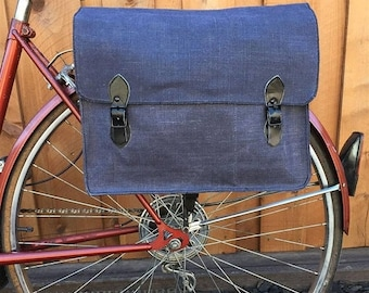 25% OFF Italian Navy Surplus Shoulder Bag Vintage Bicycle Pannier 1960's Blue Canvas