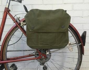 25% OFF Finnish Military Surplus Shoulder Bag Vintage Bicycle Pannier 60's-80's Green Canvas