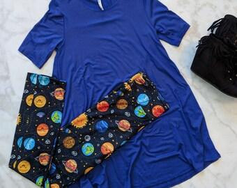 Planet Leggings - adult & kids sizes, space, spaceship UFO leggings