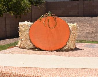 Wood Slice Pumpkin,  Pumpkin Wood Disc, Fall Rustic Pumpkin