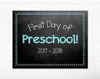 First Day of School Chalkboard Sign / Preschool / First Day of School Print / Back to School Sign / 8.5x11 DIGITAL Printable JPEG Blue Boy