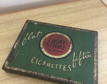 Vintage Lucky Strike Flat Fifties Cigarettes Tin