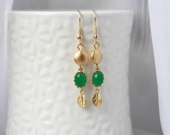 Gold Earrings, filigree earrings, gold earrings, green earrings, dangle earrings, leaf earrings, nature earrings, wedding, gift for her