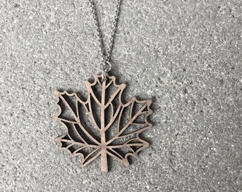 Laser Cut Wood Canadian Flag Maple Leaf Necklace \\ Wood Jewelry \\ Silver Chain