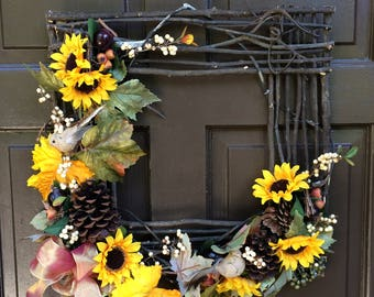 18 IN square sunflower wreath, summer/fall wreath, Fall Wreath, Square Wreath, Grapevine Square, Grapevine Wreath,  Front Door Wreath,
