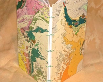 Art Journal, blank book, Africa Geologic map cover, handmade, sewn coptic stitch, 30 pages