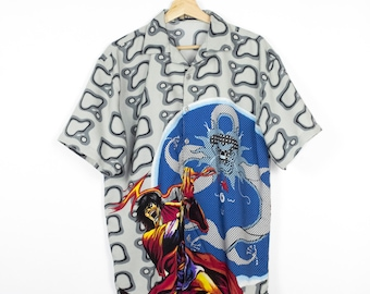 vintage anime flames button down shirt - all over print
