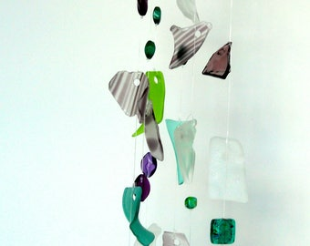Glass wind chime - tumbled glass sun catcher - tumbled glass wind chime