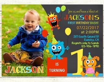 little monster 1st birthday party invitation monster birthday invite chalkboard invitation first birthday - Monster Birthday Party Invitations