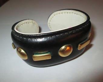 1950s Fernande Desgranges Black Leather Studded Cuff Bracelet made in France
