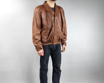 80s Boxy Genuine Leather Brown Men's Bomber Jacket . Vintage Rocker Padded Short Warm Coat . Retro Warmed Biker Button up Punk Jacket / Sz L