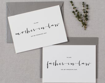 To My Mother-In-Law, To My Father-In-Law On My Wedding Day, In Laws Wedding Card, Thank You Card, Parents In Law Wedding Cards, 2 Cards, K4
