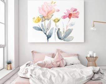 Gallery Style Canvas Print, Stretched Canvas Art, Canvas Wall Art,  Canvas Giclée Watercolor print, Senay Studio Abstract Floral Print