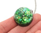 Liquid Filled Pendant Water Globe Jewelry Green Mix Galaxy Pendant Lava Necklace Magic Moving Jewellery