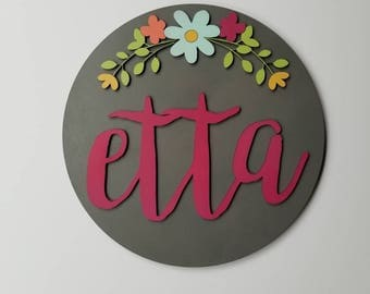 Children's Name Sign - round wood sign