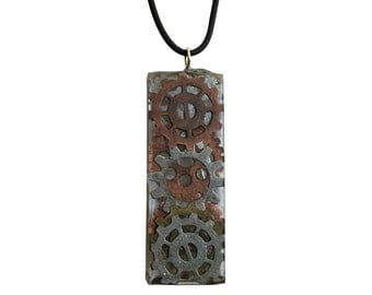 Clear Resin Necklace With Gears - Custom Design #0115
