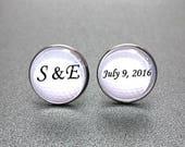 Monogram Gold Ball Cufflinks, Personalized Golf Ball Cufflinks, Custom golf ball cufflinks, Name and Date