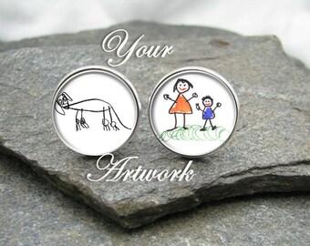 Your Child's Artwork Cufflinks, Kid's Art Cufflinks, personalized cufflinks, photo cufflinks
