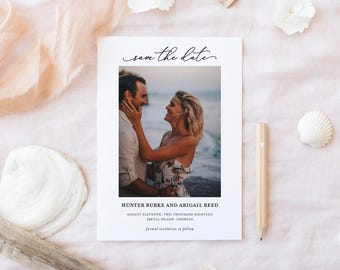 Beach Save The Date | Save The Date Card | Photo Save The Date | Minimal Simple Save The Date | SD-027