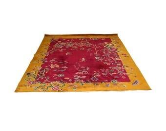 "Art Deco Chinese Massive Large Nichols Floral Area Rug Carpet 104"" X 138"""