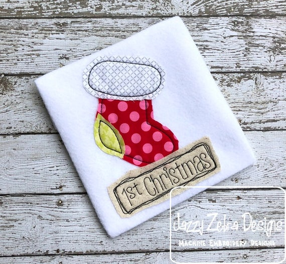 1st Christmas Shabby Chic applique embroidery design - Christmas appliqué design - 1st Christmas applique design - stocking appliqué design