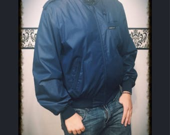 1980's Navy Blue Members Only Hipster Jacket , Size 46, Size Large XL, Vintage 80's Blue Grunge Member's Only Coat, Member's Only Jacket