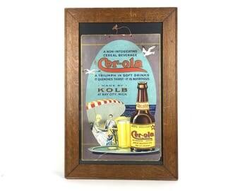 Rare 1920s Cer-Ola Beverage Advertising Sign Original Litho Soda Cardboard Sign Cer-Ola Litho Bay City Michigan