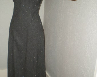 1970's Gray Wool & Rhinestone Formal Gown Long Wiggle Dress Size 7 Handmade, Lined Open Back