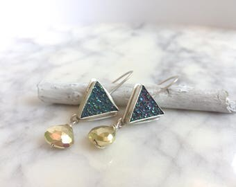 Triangle Druzy Earrings, Druzy Earrings, Peacock Druzy Earrings, Pyrite Earrings, Purple Druzy Earrings, Boho Earrings, Green Druzy Earrings