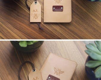 A set of Personalized real Leather Passport Cover and luggage tag, passport holder wanderlust travel Honey Bee gift set Custom name initials