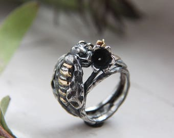 Bee ring, lily of the valley ring, silver and gold ring, bee flower ring, insect ring, unique ring, sterling silver ring, flower ring