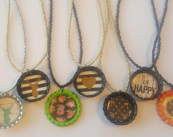 Bottle cap necklace set on a seed bead necklace your choice - deer necklace - fashion necklace