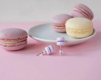Ultra violet stud earrings, Polymer clay earrings, Miniature food jewelry, Dessert earrings, Lavender jewelry, Purple earrings, Gift idea