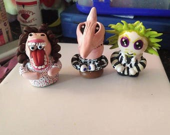 Beetle Juice Polymer Clay Figurines/Keychains/Christmas Ornaments