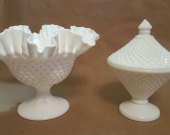 Westmoreland, English Hobnail Milk Glass Candy Dish with Lid